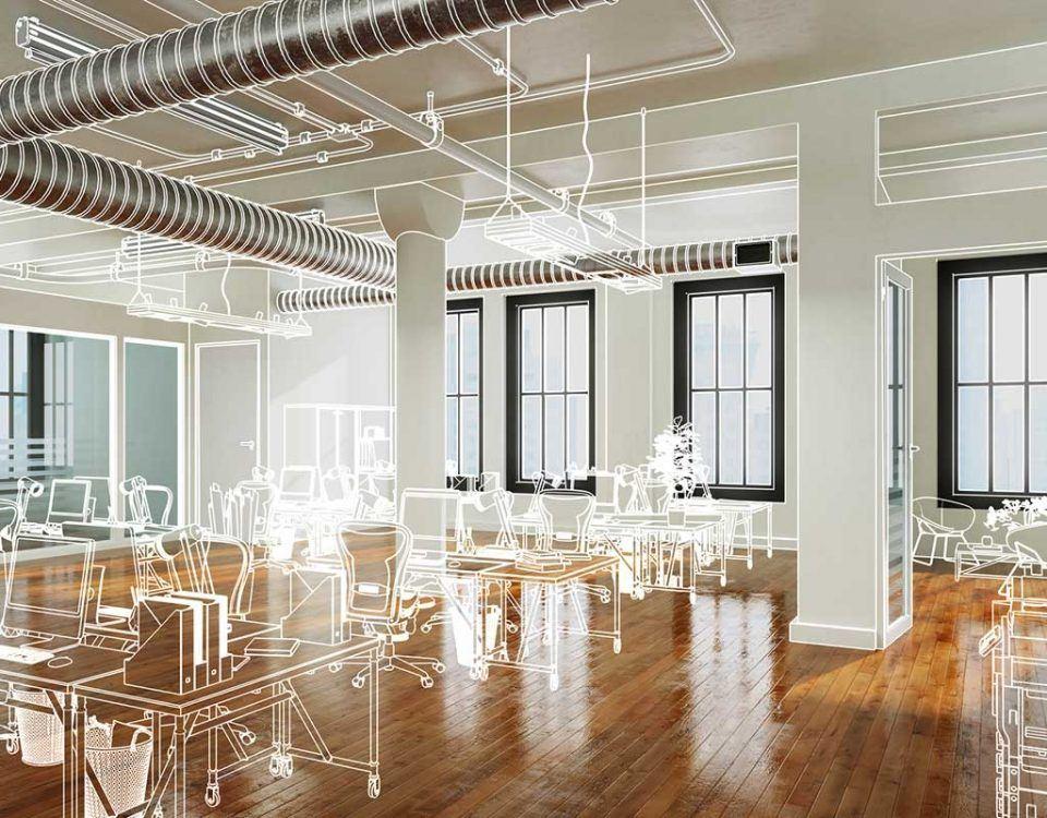 Bürokonzept in einem Raum mit Dielen
