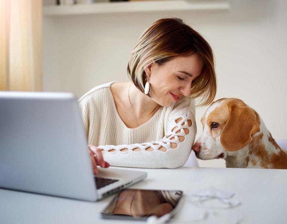 Frau mit Hund am PC